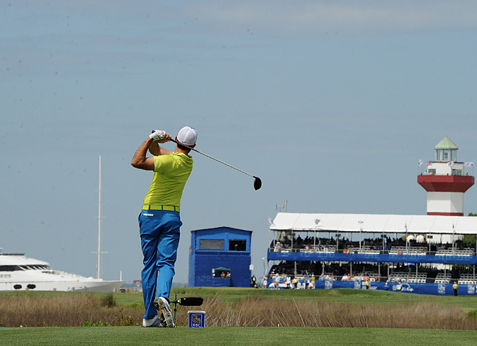 Charl Schwartzel, on the iconic 18th hole.