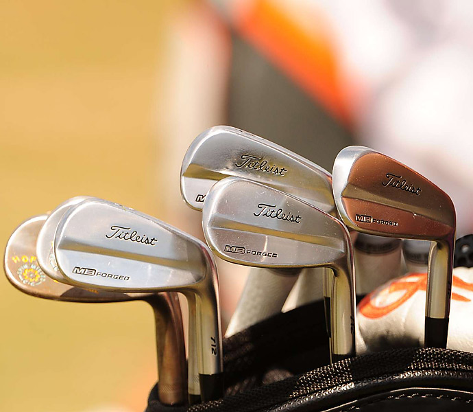 "Charley Hoffman had ""HOF"" stamped on his Vokey SM4 wedge, but his Titleist 712 Series MB irons are clean."