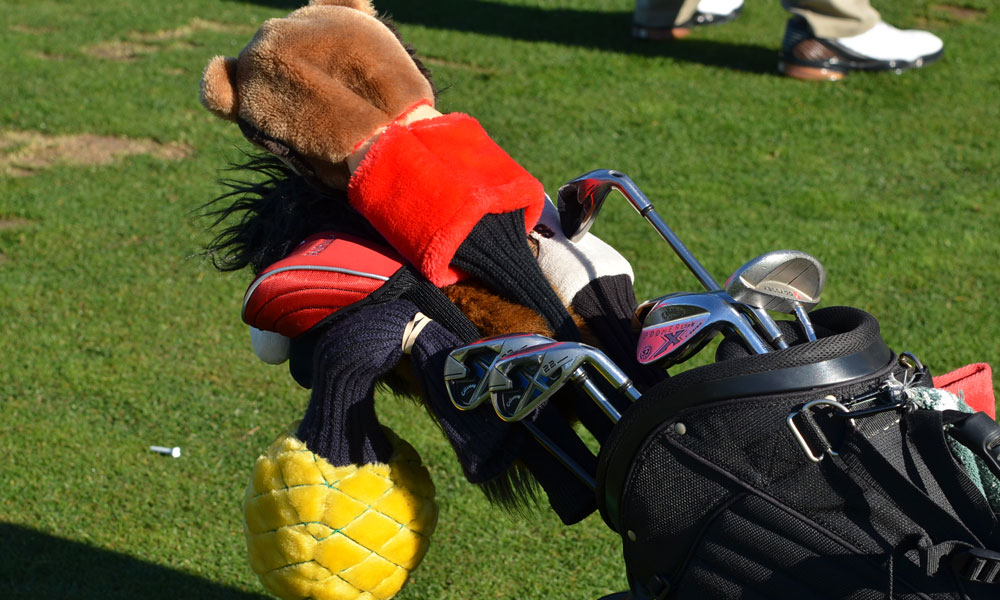 ESPN analyst Chris Berman's game won't be mistaken for a pro's, but with a bull, pineapple and bear on top of his bag, at least he's trying to look the part.