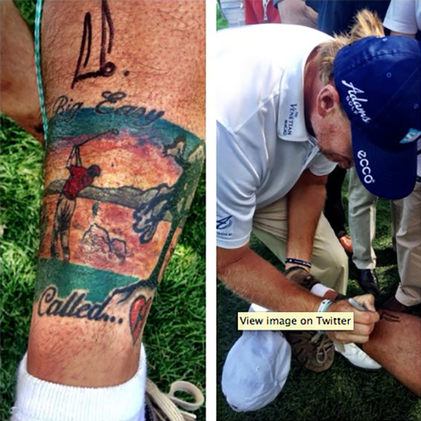 @CH3golf @TheBig_Easy meets a very dedicated fan @BMWchamps!  Fan said all the tattoo needed was a signature. pic.twitter.com/8LFhvQSwvQ