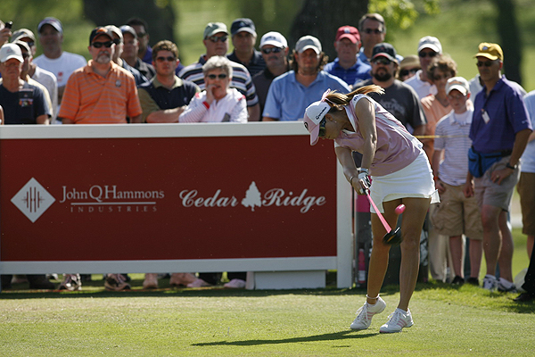 Creamer almost swung out of her shoes on this tee shot Sunday.