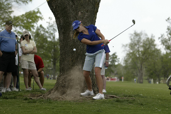 Paul Creamer wins the 2008 SemGroup Championship                       The Pink Panther of the LPGA won in Oklahoma, and Sports Illustrated photographer David Walberg was there to capture the action.                                              Creamer was really up against it as she hit this shot on the 14th hole Thursday.