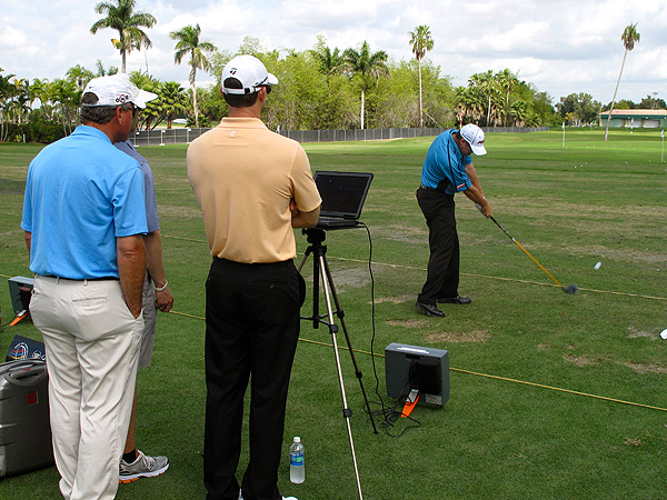 D.A. Points  did some driver testing Tuesday morning under the watchful eyes of TaylorMade reps and Golf Magazine Top 100 Teacher Brian Mogg (far left).