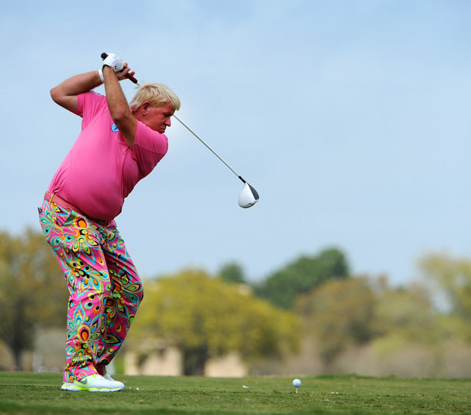 John Daly                           No list of the top drivers on Tour is complete without John Daly. His clubhead sometimes looks like it's going to clip his left ankle on his backswing, but the distance can't be denied. Daly dominated the PGA Tour driving distance rankings from 1989-2007, leading the Tour in 14 of those 18 seasons.