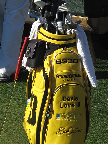 Davis Love will captain the 2012 United States Ryder Cup team. Spotting his Bridgestone bag on the practice green is not very hard.