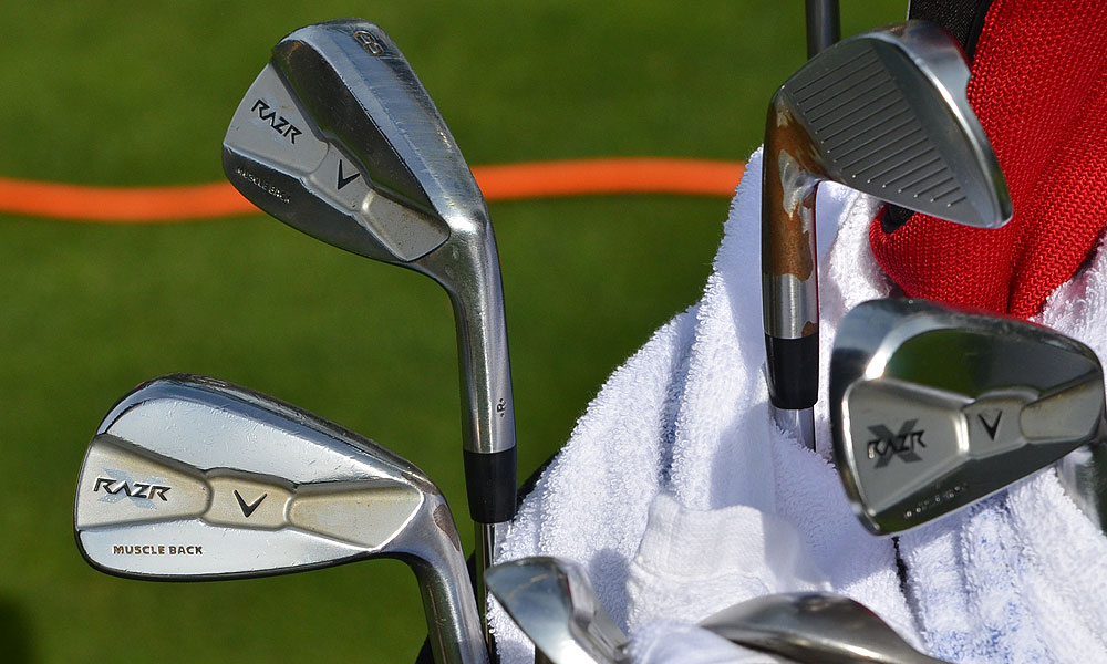 Derek Lameley is using Callaway RAZR X Muscleback irons.