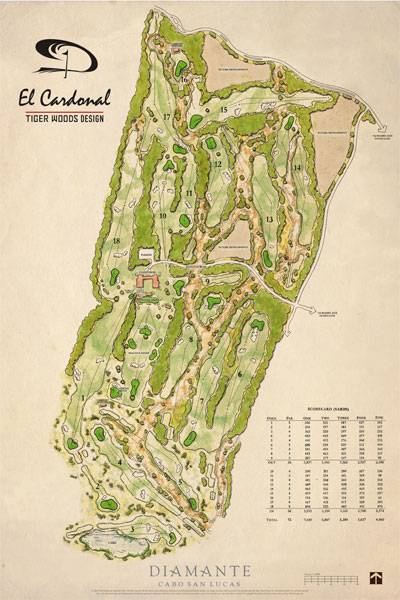 A map of Tiger Woods' new course El Cardonal at Diamante Cabo San Lucas.