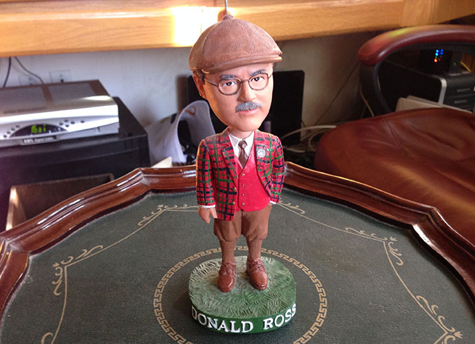 My sister Lori and brother-in-law Ken gave this Donald Ross bobblehead to me as a Christmas present. What better gift to a design geek? My first Ross course was a Denver muni, Wellshire, in 1985. I hit Ross nirvana in 2013, with Pinehurst No. 2 and Seminole within six weeks.