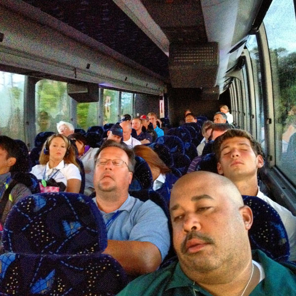 @DavidDusek:It was a sleepy group of scribes, shooters and golf geeks on the 6 a.m. shuttle this morning. #PGAChamp