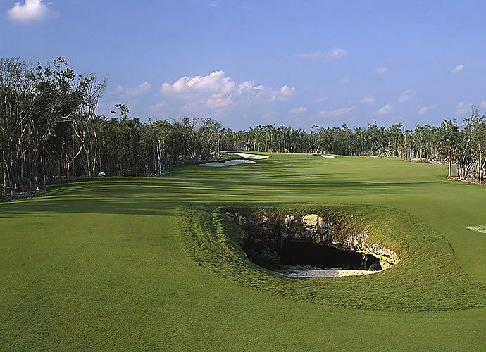 4. El Camaleon at Mayakoba Resort in Mexico: Current home to a PGA Tour event, this unique layout 45 minutes south of the Cancun Airport wows with limestone-lined canals that bisect fairways, jungle-like mangrove swamps, natural rock caverns and two par-3s that edge the Caribbean Sea.