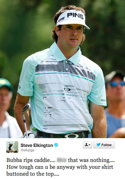 In other less offensive posts, unless you're Bubba Watson or Graeme McDowell, Elkington goes after the attire of two of the most popular players in golf. First, Bubba.