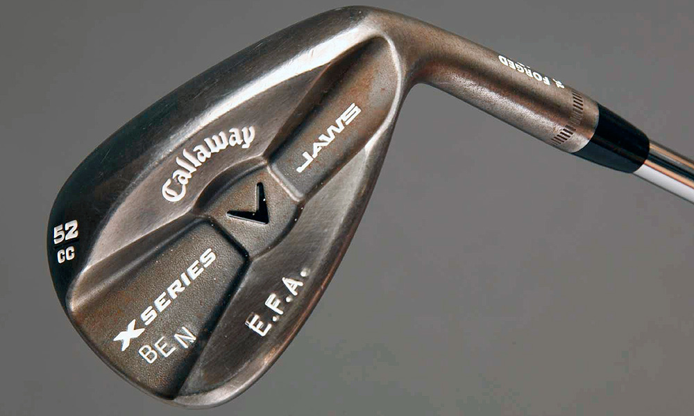 "Stamped on Ernie's Callaway X-Series Jaws gap wedge (52°) is ""EFA"" which stands for his charity, Els For Autism, and his son's Ben's name. The club as a KBS Tour steel shaft.Stamped on Ernie's Callaway X-Series Jaws gap wedge (52°) is ""EFA"" which stands for his charity, Els For Autism, and his son's Ben's name. The club as a KBS Tour steel shaft."