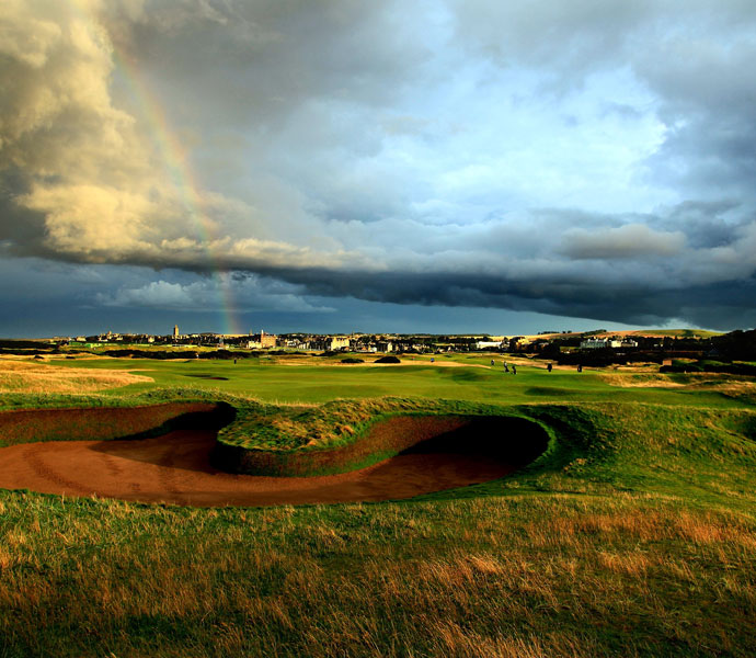 "Ernie Els: ""It's got to be Muirfield. To me, it's the fairest of all the courses on the Open rotation, with everything right there in front of you. It's the kind of golf course where you can't hide -- you have to drive it well, hit your irons well, have your short game working nicely and manage your game and your emotions. It reminds me a bit of Lytham. But where Lytham goes out and comes back, Muirfield moves in different directions on almost every shot you play. It's just a wonderful design. The par-3s are unbelievable. Each and every hole is a little bit different. There's left to rights, right to lefts, it all happens out there. It is the perfect links test.""                                                      Pictured: The par-4 8th hole at Muirfield."