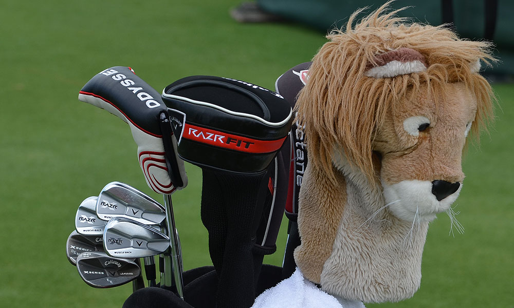 Ernie Els Callaway RAZR X Muscleback irons and X Series JAWS wedges are guarded by a lion. The Big Easy has an 'EE' stamped on his lob wedge and his son's name, Ben, on his sand  wedge.