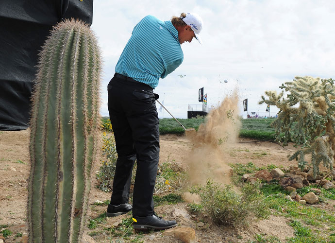 Ernie Els chips out of the desert and onto the ninth green.