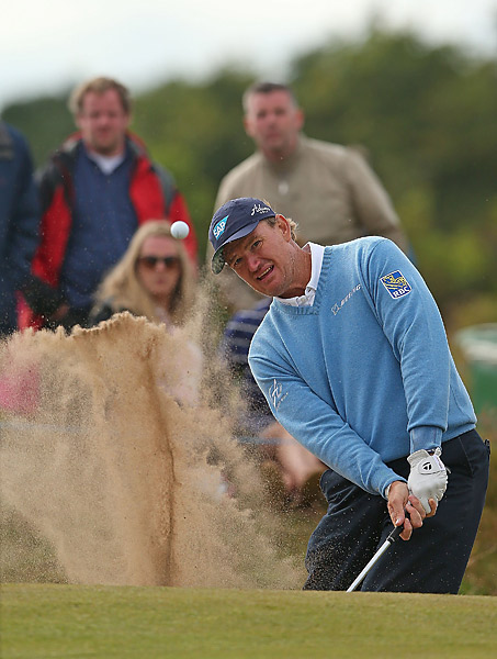 Ernie Els struggled to a two-over 73.