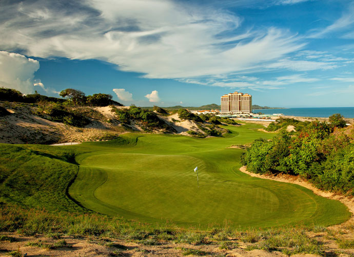 Greg Norman's latest design is The Bluffs, a links-style track routed over and through sand dunes adjacent to The Grand Ho Tram Resort in southeast Vietnam, about 2-1/2 hours from Ho Chi Minh City.