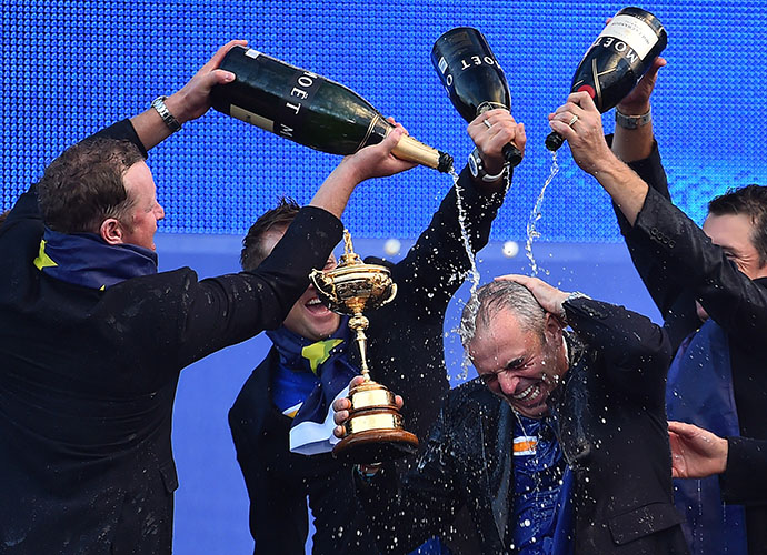Captain Paul McGinley is soaked with champagne during the closing ceremonies of the 40th Ryder Cup.