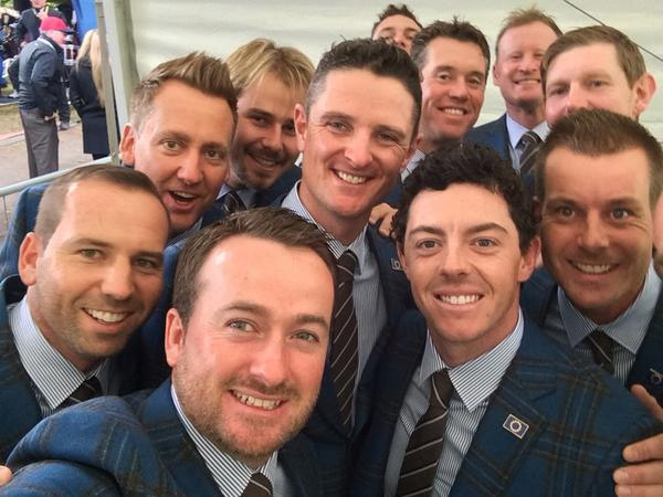 "Rory McIlroy tweeted this selfie of the European team at the opening ceremonies with the following caption: ""Pre opening ceremony selfie!! #EUROPE"""