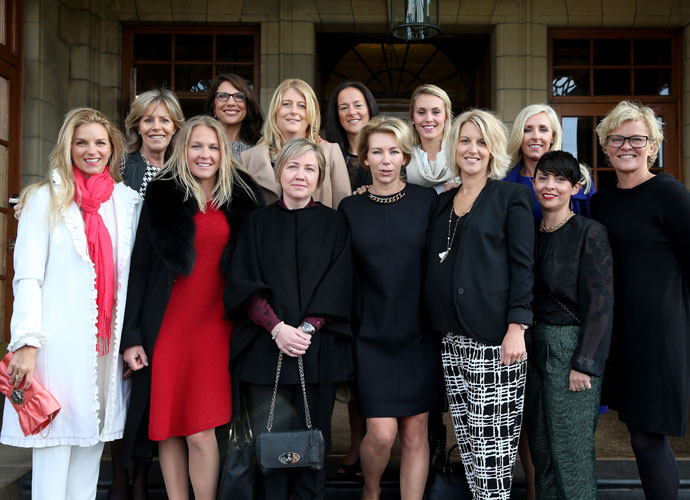 Significant others of European Ryder Cup team players and captains gathered for a group photo. They are: Kate Rose, wife of Justin Rose; Vicki Smyth, wife of vice captain Des Smyth; Susanne Jimenez, wife of vice captain Miguel Angel Jimenez; Suzanne Torrance, wife of vice captain Sam Torrance; Katie Poulter, wife of Ian Poulter; Helen Gallacher, wife of Stephen Gallacher; Kathryn Tagg, fiancee of Jamie Donaldson; Allison McGinley, wife of captain Paul McGinley; Katharina Boehm, partner of Sergio Garcia; Emma Stenson, wife of Henrik Stenson; Caroline Harrington, wife of vice captain Padraig Harrington; Laurae Westwood, wife of Lee Westwood; Pernilla Bjorn, wife of Thomas Bjorn.