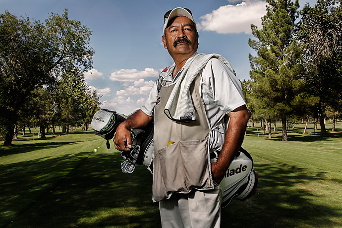 "For 38 years, Fernando Lopez Cerda has taken a one-hour bus ride from his home to his job as a caddie at Campestre. He rarely travels outside Juarez but estimates that he's walked the course enough to circle the globe three times. At $30 per loop, his job pays much better than the $40 weekly salary of an average Juárez factory worker. ""I feel blessed to have this job,"" he said."