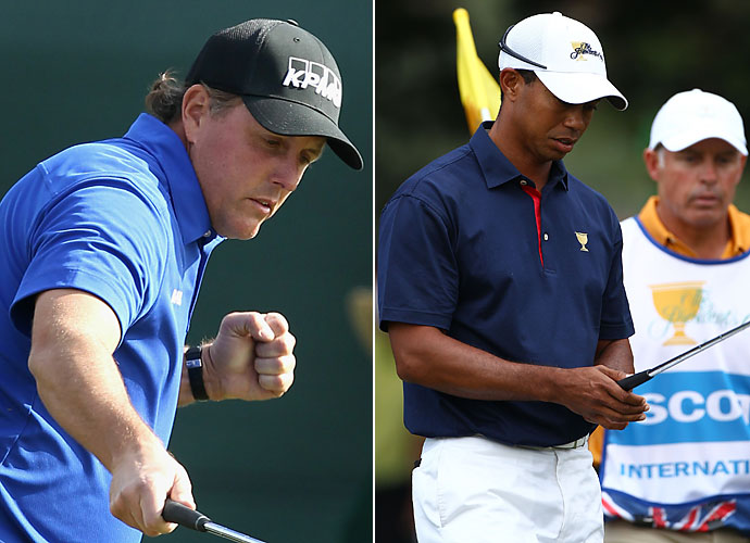 2011                                 Tiger Woods misses several events after re-injuring his leg at the Masters. His downfall from World No. 1 continues as Woods fires longtime caddie Steve Williams in July. His world ranking falls as low at 58. Phil Mickelson's only PGA Tour win comes at the Shell Houston Open, and as he finishes second at the British Open, 2011 is largely a disappointment for Lefty.                                                                   World News: Osama bin Laden is shot and killed by U.S. troops and CIA operatives in Pakistan.