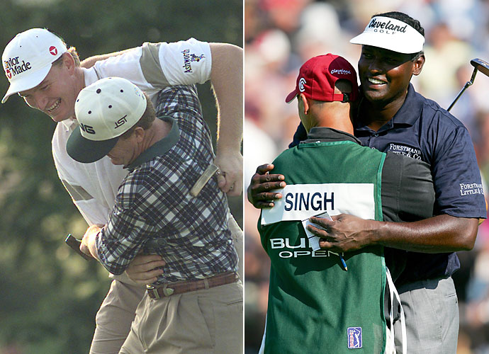 Defensive End                       Ernie Els and Vijay Singh could make for a very scary defensive line duo. Both players are large and are practically tackling the others in their respective photos. They could be quarterback crushers.