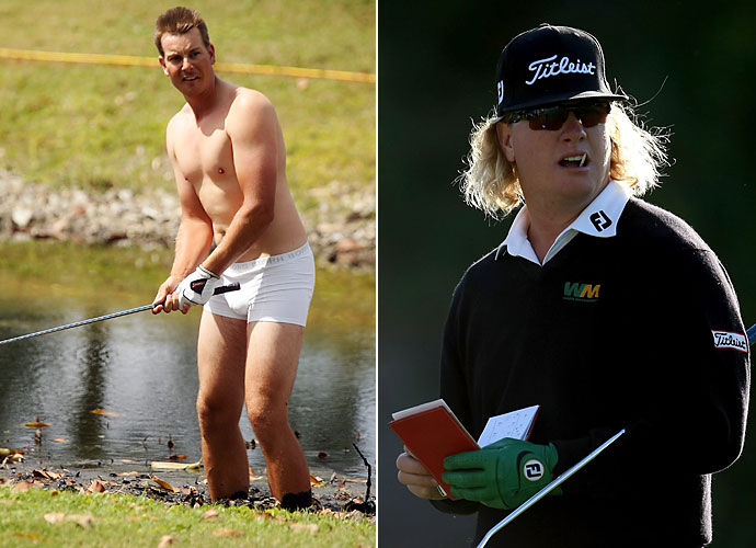 Outside Linebacker                           Henrik Stenson and Charley Hoffman would be the hard workers in this all-golf 3-4 defense. Stenson has shown he has no problem getting down and dirty for the game and while Hoffman hasn't exerted himself in quite the same way, his looks are menacing enough to send chills down any quarterback's spine.