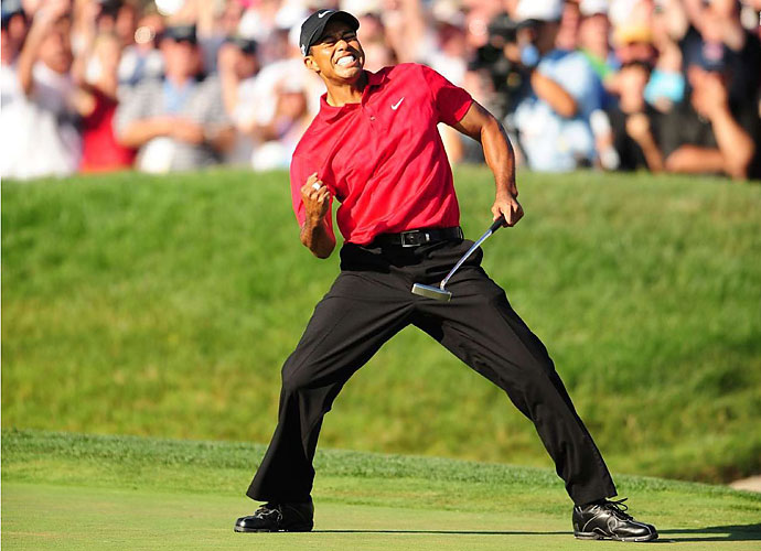 2008                                 Tiger Woods undergoes knee surgery following the Masters in April and returns to win the U.S. Open at Torrey Pines for his 14th major victory in a memorable Monday playoff over Rocco Mediate. Another knee surgery keeps Woods out for the remainder of the season, however. Phil Mickelson goes major-less for a second-straight season but wins twice at the Northern Trust Open and Crowne Plaza at Colonial.                                                                   World News: Barack Obama becomes the United States' first African-American president.