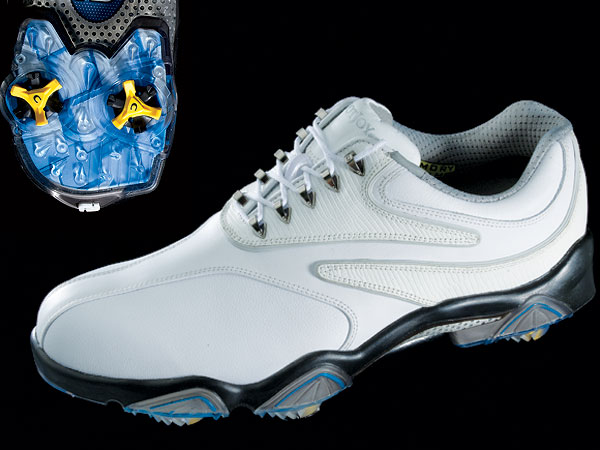 "FootJoy SYNR-G                       $189, footjoy.com                       The SYNR-G is proof that a golf shoe                       can be more than the sum of its parts.                       The large mid-foot support (made of a                       perforated aluminum alloy) links the                       wide, flared heel with the forefoot to                       create an ultra-stable base. ""Memory                       foam"" in the tongue and collar mold to                       the feet for a custom-like fit. Added heel                       support contributes to the secure feel."