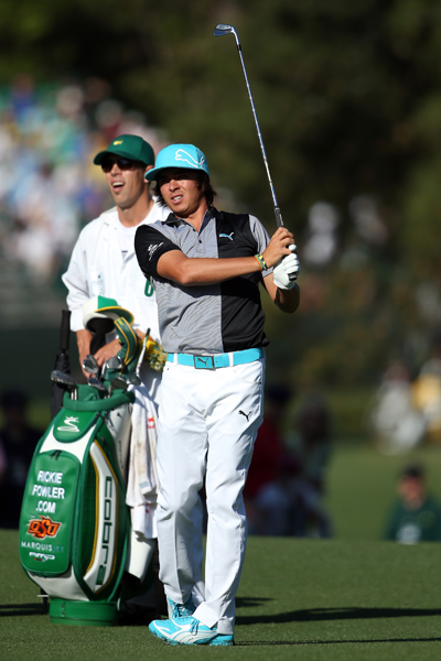 BEST: RICKIE FOWLER                       This was my favorite look in Fowler's week-long Masters script from Puma, and in person, it looks even better. I love the modern color-blocking on the polo, and the neon blue accents on his shoes, belt and hat add just enough fun color to make the look great and not gaudy.