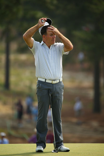 """Fran Quinn, near the lead after an opening-round 68, shot 74 in Round 2. He last played the U.S. Open in 1996. """"I can't say I really was overly nervous. I felt very confident. And I still feel very confident,"""" he said. """"I feel that I'm going to go out, I'll have two real good days, and we'll see what happens. But I'm very happy with the position I'm in. And like I said, I wish I was a couple lower. But I'm sure everyone in the field does. Except Martin."""""""