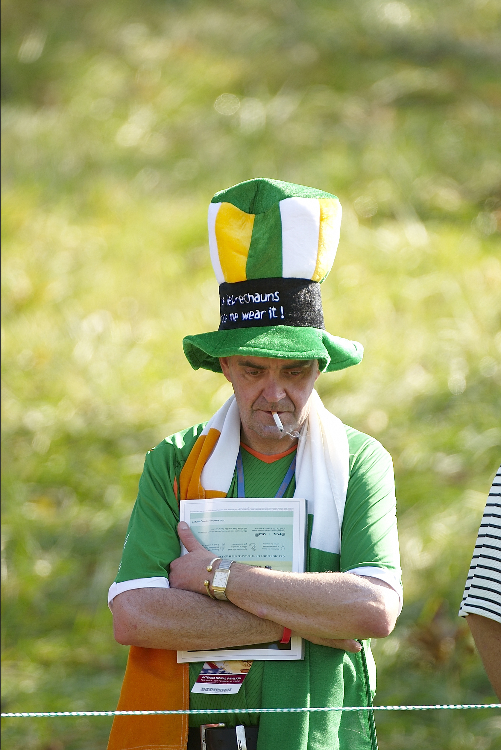 Americans aren't the only ones with big hats. This Irish fan wore his to Valhalla in 2008.