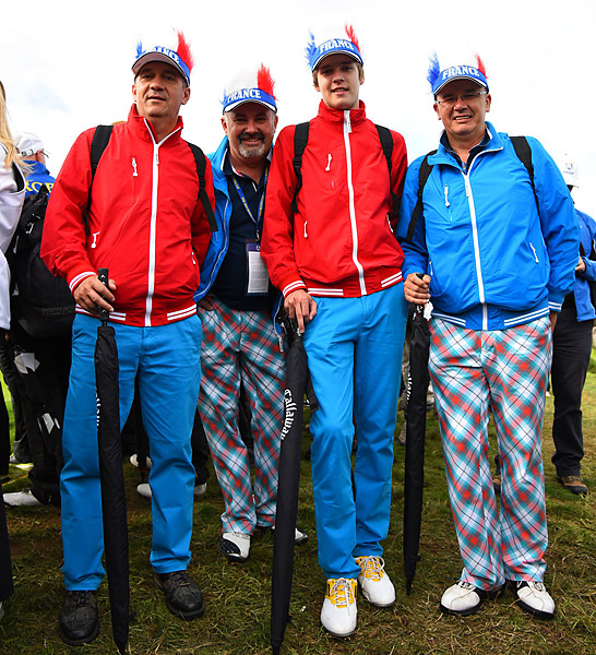 These enthusiastic French fans turned out to throw their support behind the European team's lone Frenchman, Victor Dubuisson. The 2018 Ryder Cup will be held in France.