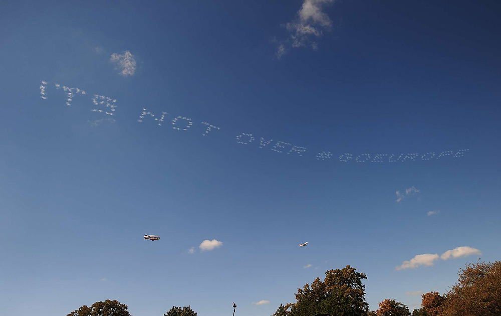 A skywriter had a message that would prove to be telling.