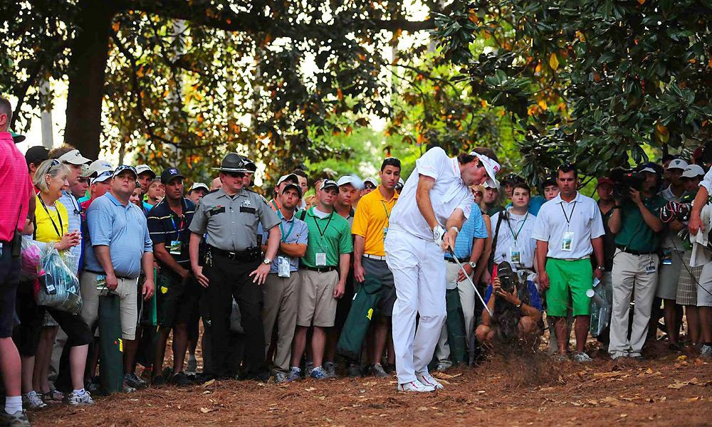 Bubba Watson, Final Round of the Masters, Hole No. 10 (In Sudden Death), Second Shot                           The best shot at the Masters (and one of the best of all time) belonged to Bubba Watson, who hit this physics-defying hook through the pines on the second hole of sudden death to defeat Oosthuizen and earn his first career major title.
