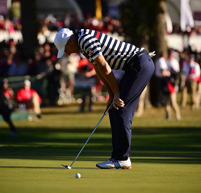 Jim Furyk missed this putt on the 18th that would've halved his match against Sergio Garcia.