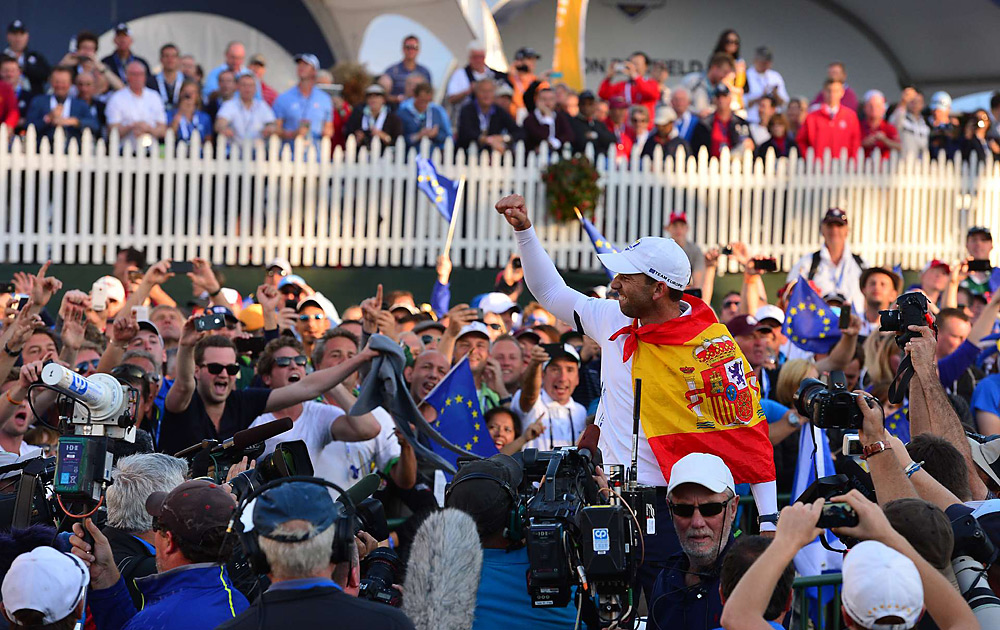 Sergio Garcia found plenty of fans to celebrate with him. Europe rallied from a 10-6 Sunday deficit to stun the U.S. at Medinah.