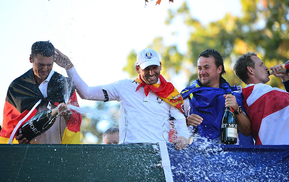 The European team celebrates after winning the 2012 Ryder Cup at Medinah.