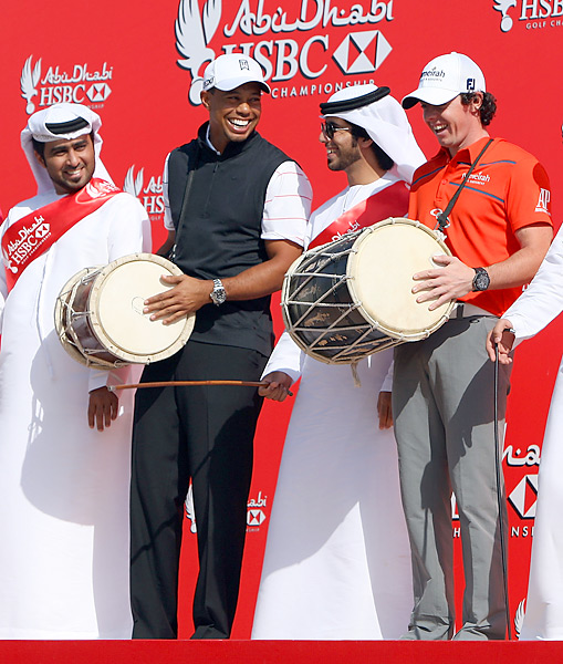 Woods and McIlroy joined several of golf's biggest names at the 2012 Abu Dhabi HSBC Golf Championship, where they would be paired together for the first time in a competitive round.