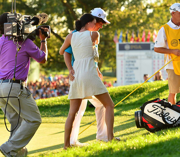 Amanda Dufner                             Mrs. Jason Dufner met her husband on the final green after he won the 2013 PGA -- and Jason gave her a friendly pat that was seen by a national television audience.