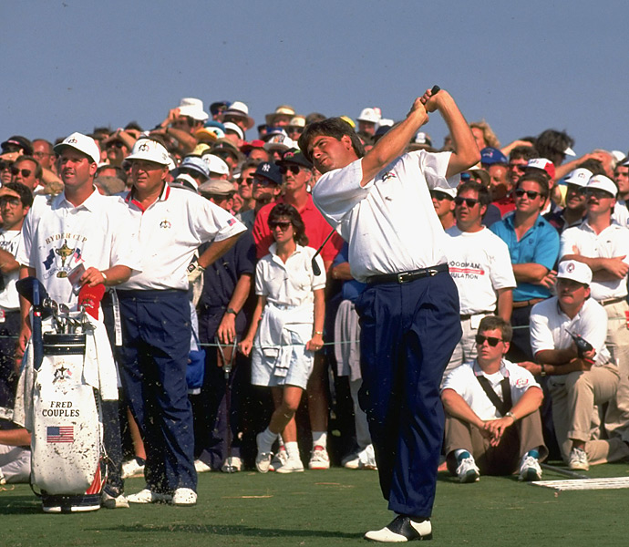 """The 1990s: Fred Couples                            Nicknamed """"Boom Boom,"""" for good reason, Couples' incredibly effortless, relaxed swing belied the massive power it produced. Born with unusual flexibility and an outrageous amount of talent, Couples (shown here at the 1991 Ryder Cup) often said all he thought about when driving the ball was turning his left shoulder under his chin and then hitting it has hard as he could with his right hand. If only it were that easy."""