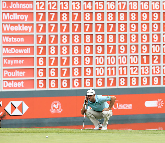 Dustin Johnson shot a 66 to take a 3-shot lead into Sunday's final round.