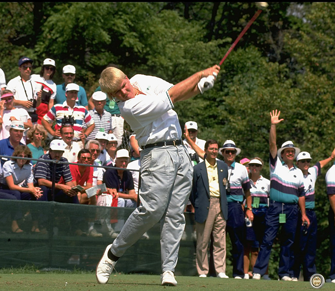 The 1990s: John Daly                           If you want proof of Long John's prodigious power, consider this: From 1989 to 2007, Daly ranked in the top five in driving distance every season on the PGA Tour, including 14 years when he manned the top spot. Daly's freakish combination of Gumby-like flexibility and huge forearm strength allows him to swing the club well past parallel in the backswing and then create enormous lag and clubhead speed in the downswing. Though his results are hard to argue with (he's shown here at the 1991 PGA Championship, which he won), Daly's motion is probably not one to even think about copying.