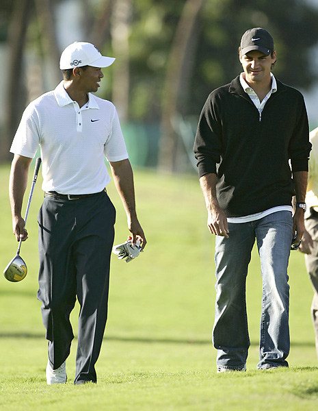 Tennis great Roger Federer walked with Woods in a practice round at the 2007 WGC-CA Championship at Doral.