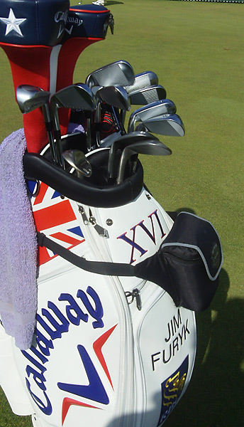 Jim Furyk's clubs are housed in a custom Callaway British Open golf bag this week.