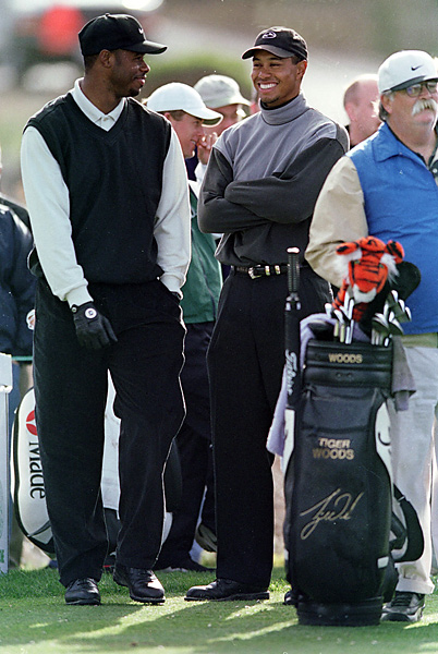 Woods teamed up with Ken Griffey Jr. at the 1999 AT&T Pebble Beach National Pro-Am.