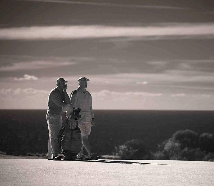 SI's Robert Beck took this infrared shot of Woods and caddie Joe LaCava.