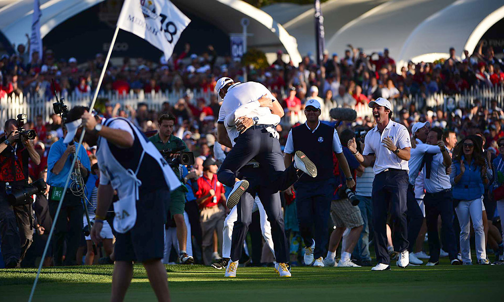 Martin Kaymer jumped into Sergio Garcia's arms moments after sinking the 6-foot putt that clinched the Ryder Cup for Europe.