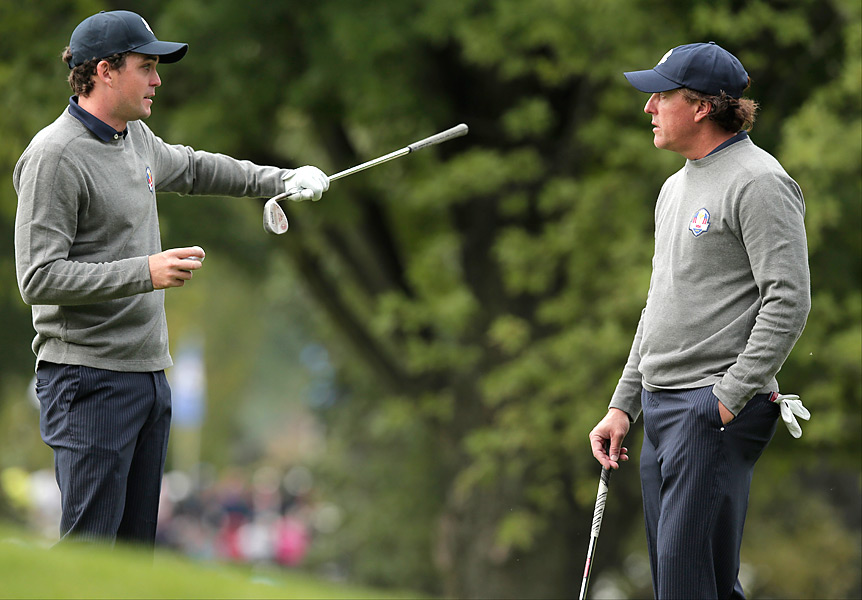 U.S. rookie Keegan Bradley practiced with Phil Mickelson, who is 11-17-6 at the Ryder Cup.